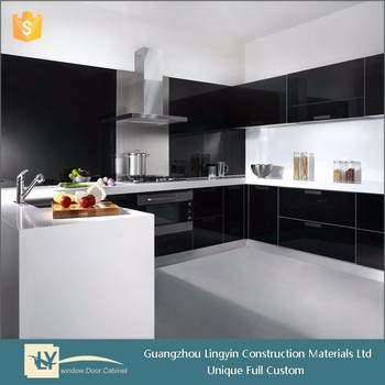 High Gloss Black Door In High Gloss Lacquer Kitchen Cabinet Buy
