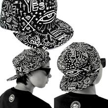 Fashion Vintage Baseball Flat Bill Hat Unisex Hippie Eye Hiphop Adjustable Cap Hip hop cap New