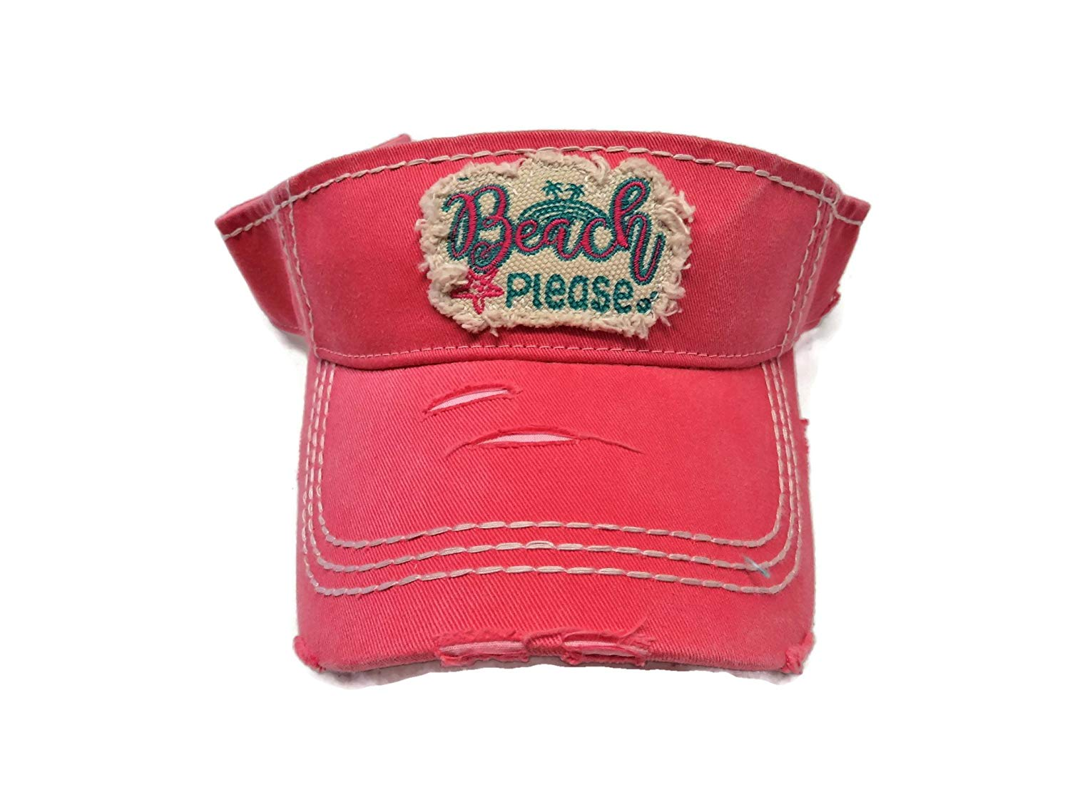0009827f8f6 Get Quotations · Spirit Caps Embroidered Beach Please Frayed Patch Washed  Coral Pink Cotton Visor