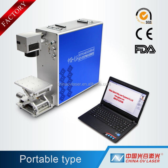 Optics Valley portable mini laser jewelry fiber laser marking machine with 360 degrees rotary tools