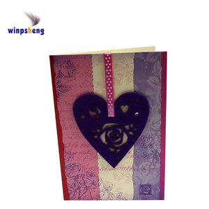 Factory supplier heart shape handmade greeting card