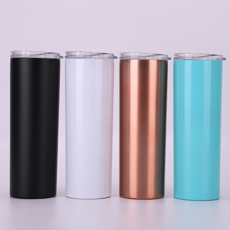 insulated 20 oz stainless steel double walled skinny tumbler with straw