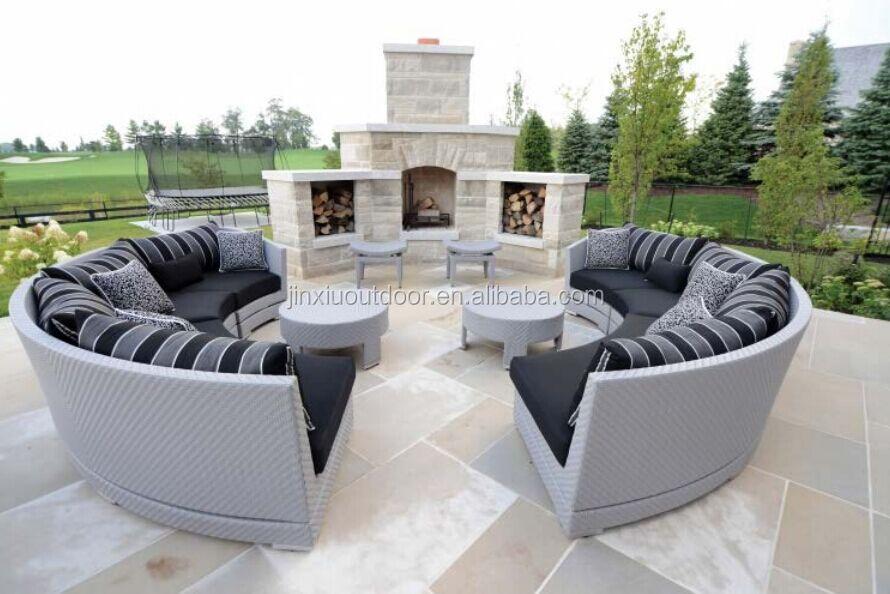 Demi - cercle conception de patio en rotin rond canapé ...