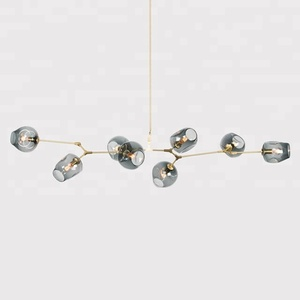 Modern 8 light blown metal arm ball glass lowes hanging lights long chandeliers