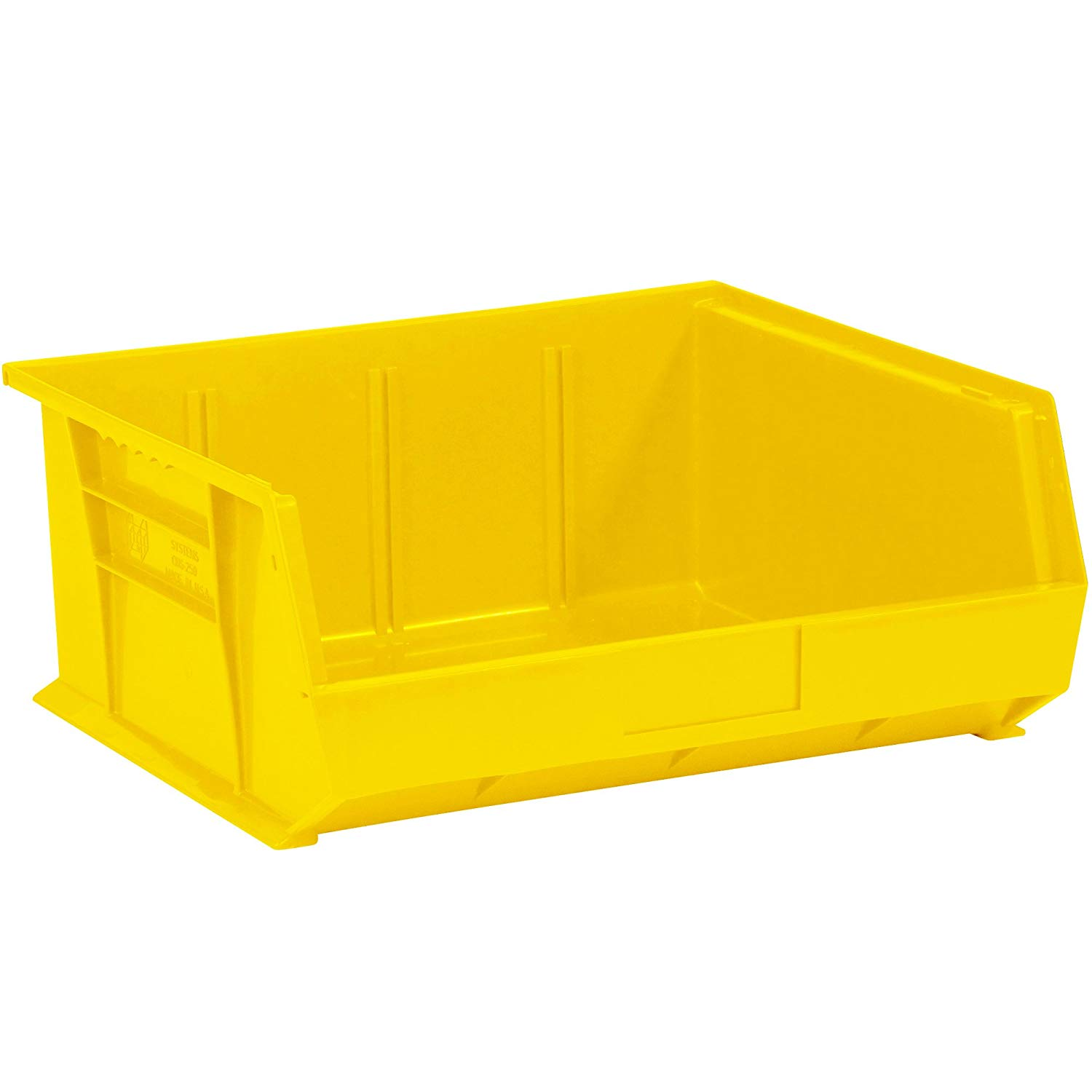 "Aviditi BINP1516Y Plastic Stack and Hang Bin Box, 14-3/4"" Length x 16-1/2"" Width x 7"" Height, Yellow (Case of 6)"