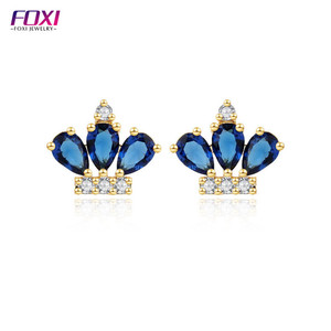 kids gemstone jewelry lovely cute crown tiara stone earring for girls and women