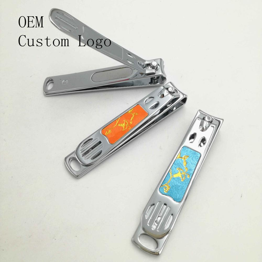 Special sticker carbon steel nail clipper/ gold design nail cutter manufacturer