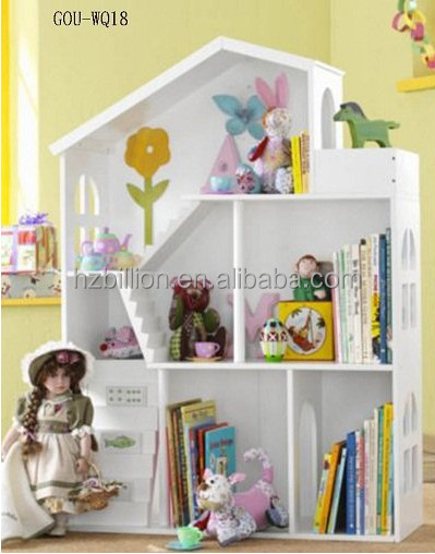 fashion style white houten poppenhuis boekenkast kinderen school boekenplank
