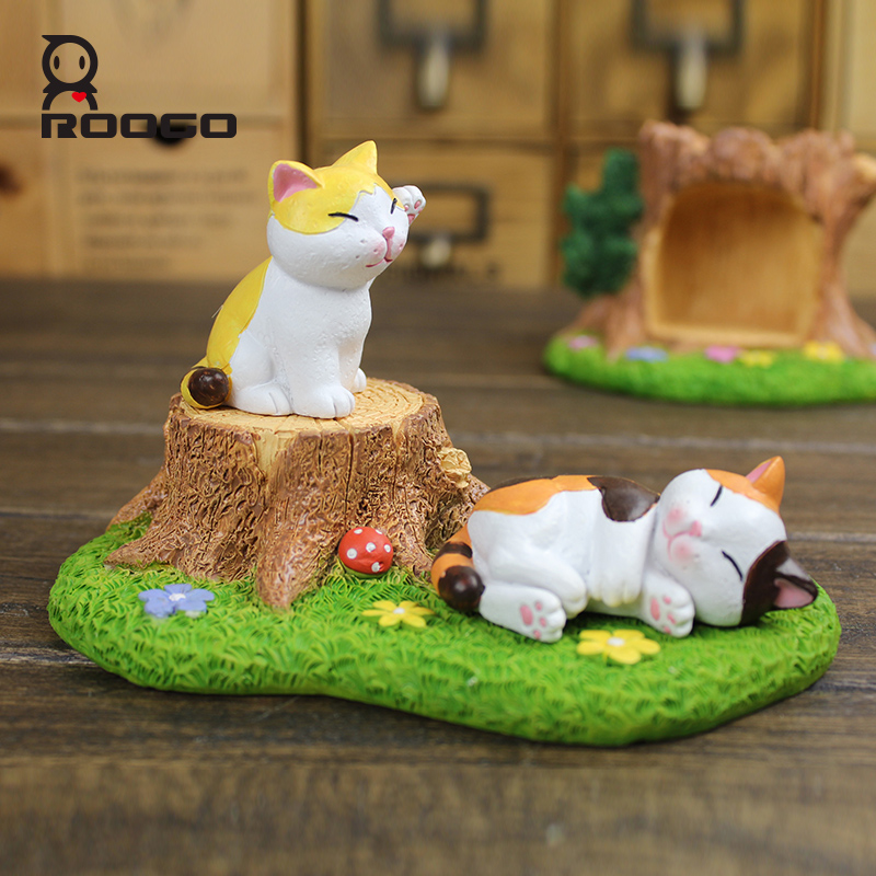 ROOGO resin handmade mini cute cartoon grass wooden stake shape furnishing article