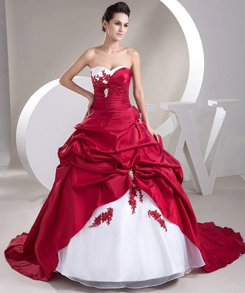 White And Red Wedding Gowns: Popular Cheap Red And White Wedding Dresses-Buy Cheap