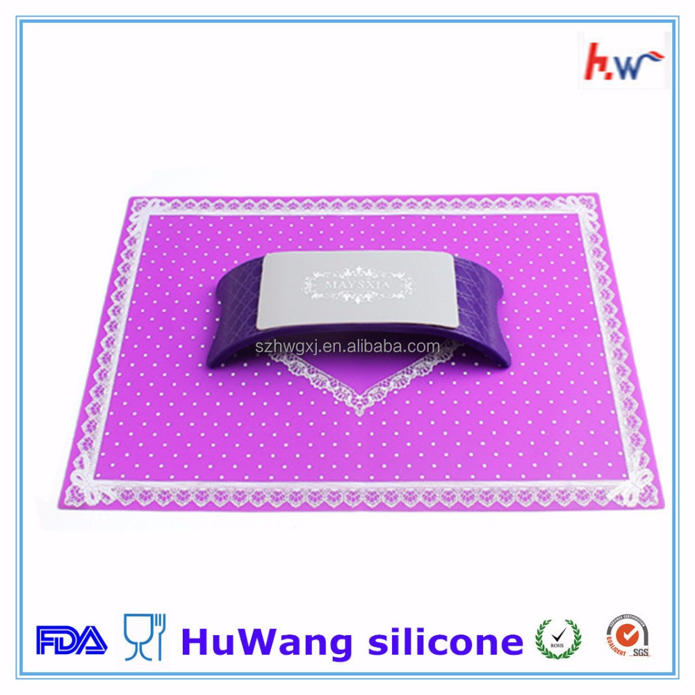 Customized colorful silicone nail art mat with hand pillow