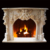 Custom Natural Stone White Marble Fireplace With Cherub Angle Statue
