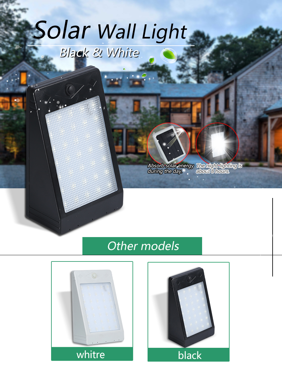 Good price outdoor security waterproof garden ABS 6w ip65 led solar wall lights