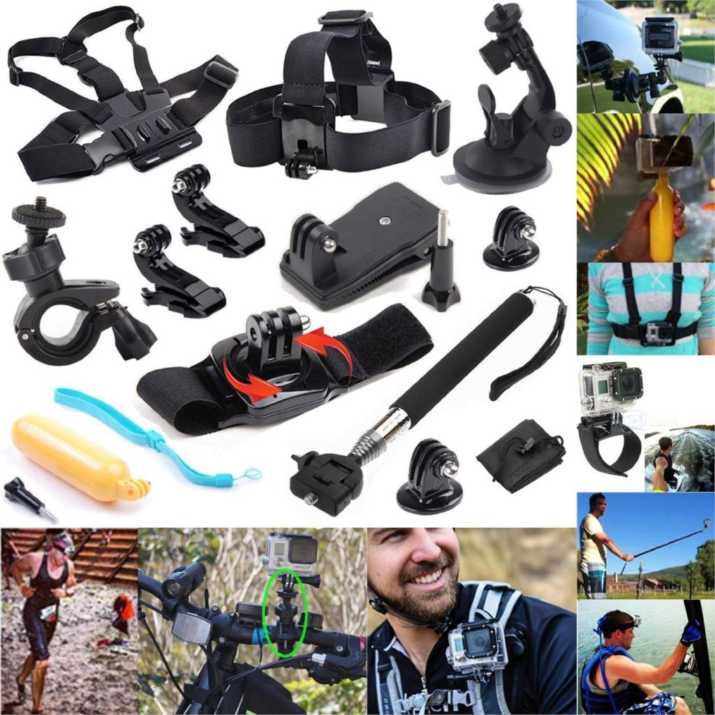 Gopro Accessories Kit Wrist Chest Head Strap Mount Floating Grip Clip Clamp