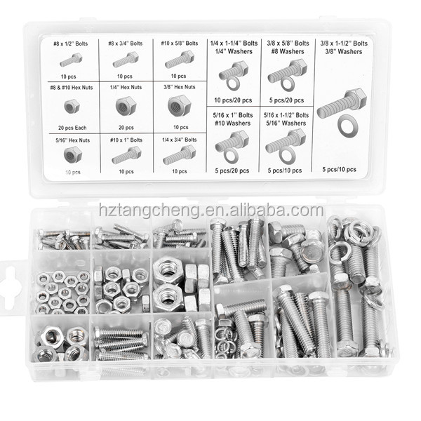 Hardware Kit 240PC Metric Assorted Zinc Plated Square Thread Bolt and Nut