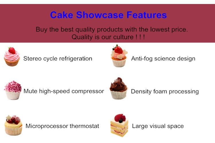 Hot Sales commercial Marble bakery CE approved supermarket refrigerated glass cake showcase CSD528