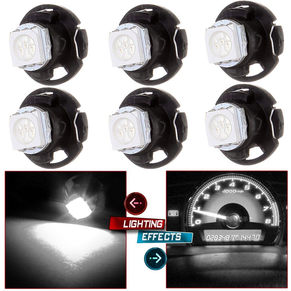 CCIYU 6 Pack White T4.7 Neo Wedge 5050 Led for A/C Climate Heater Control Bulbs Lamp Light Fits For 2001-2012 Dodge Ram 1500 Van Intrepid Dakota Caravan Grand Caravan Ram 5500 4500 3500 Van 3500