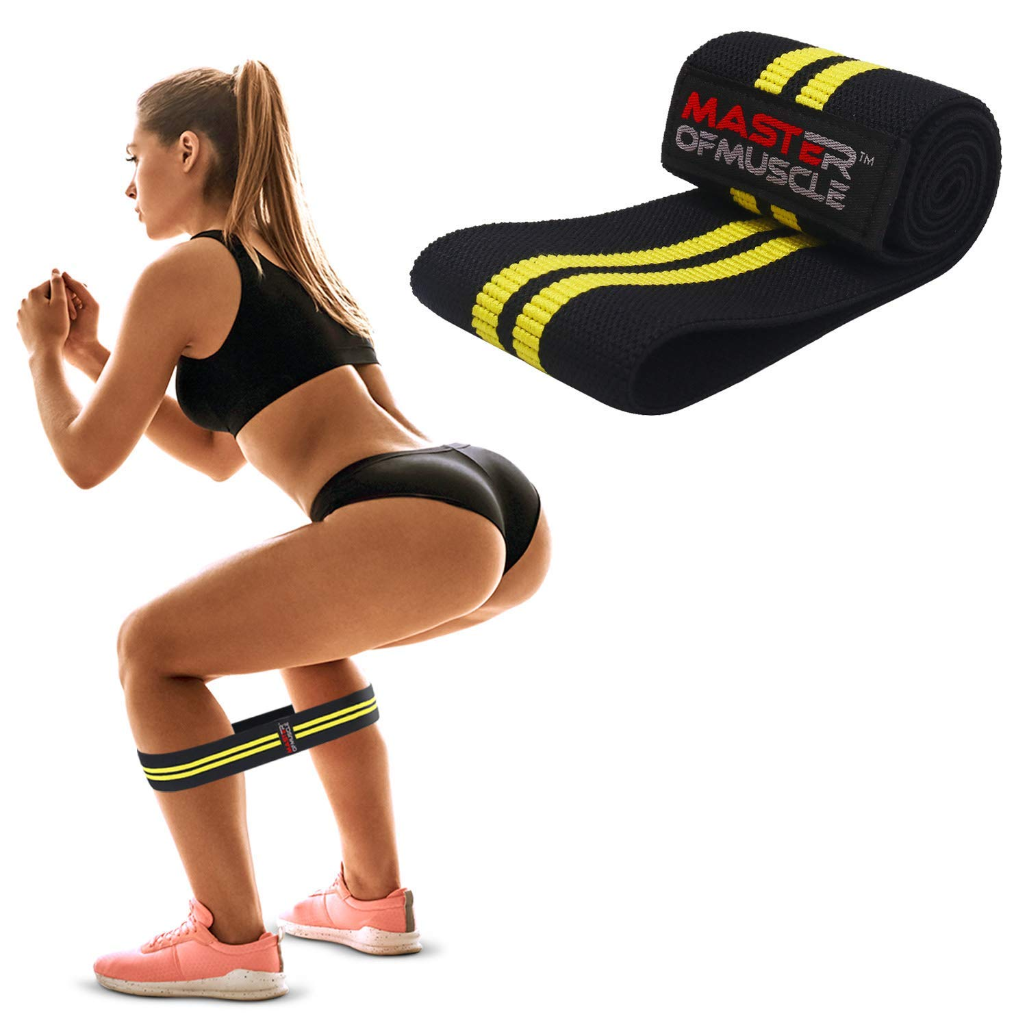 HIP RESISTANCE BAND – Heavy Fabric Hip Circle Bands for Glute & Legs Activation before Squat & Deadlifts – Grippy Non-Slip Heavy Duty Cloth for Best Booty, Hip and Butt Workout Exercise