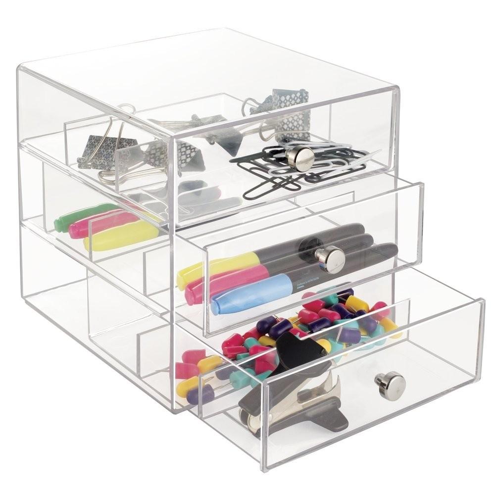 Acrylic Desk Drawer Organizer Home Storage Organization Pen Pencil Notepad Paper Clip Holder