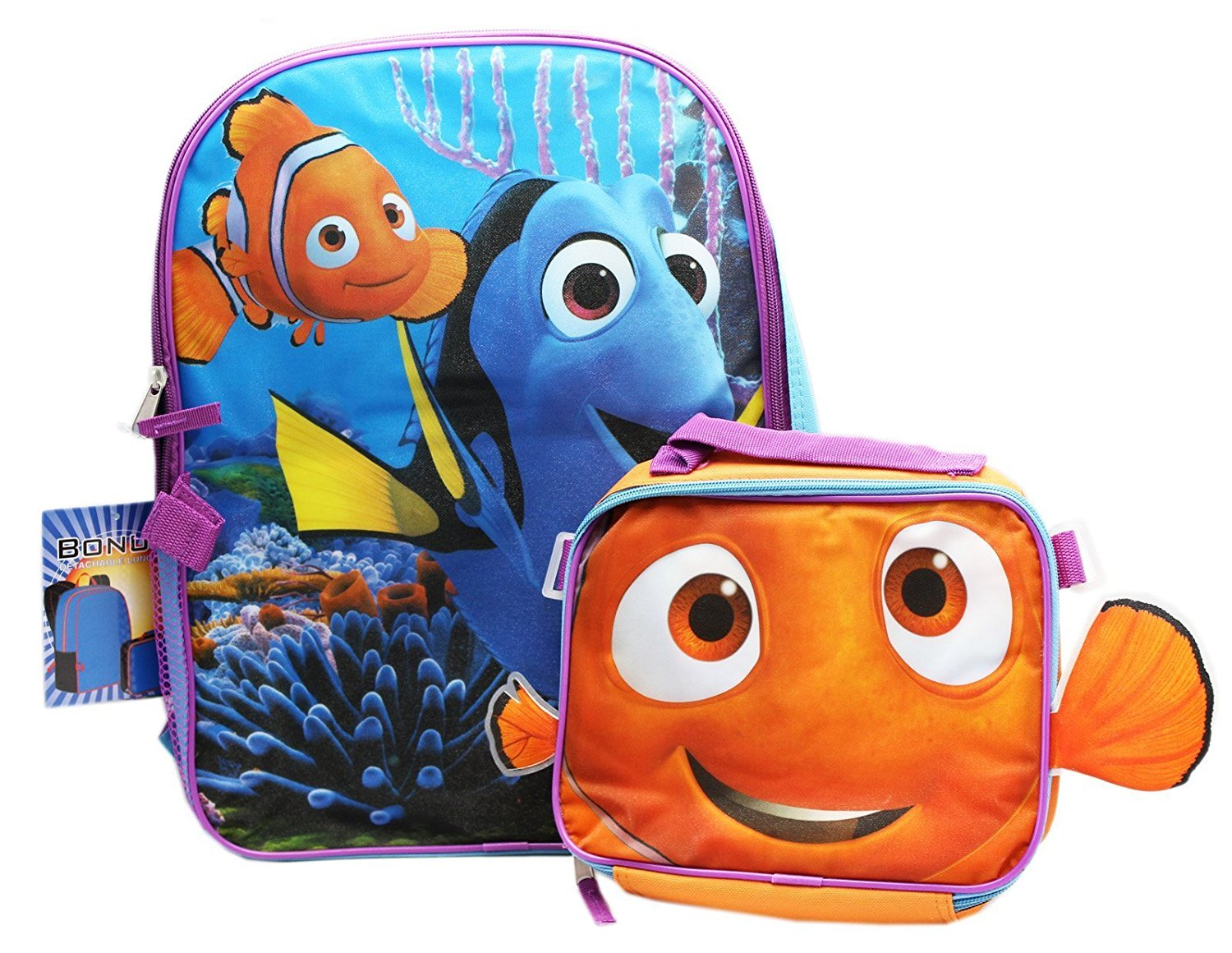 Buy Finding Dory Backpack With 2 Part Compartment Lunch Box d1b797857d82f
