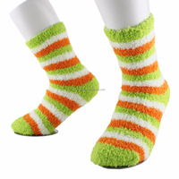 Ladies' polyester cosy yarn colorful stripes home socks