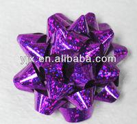 Wedding gift pull bow/star bow/elegant purple pom pom bow