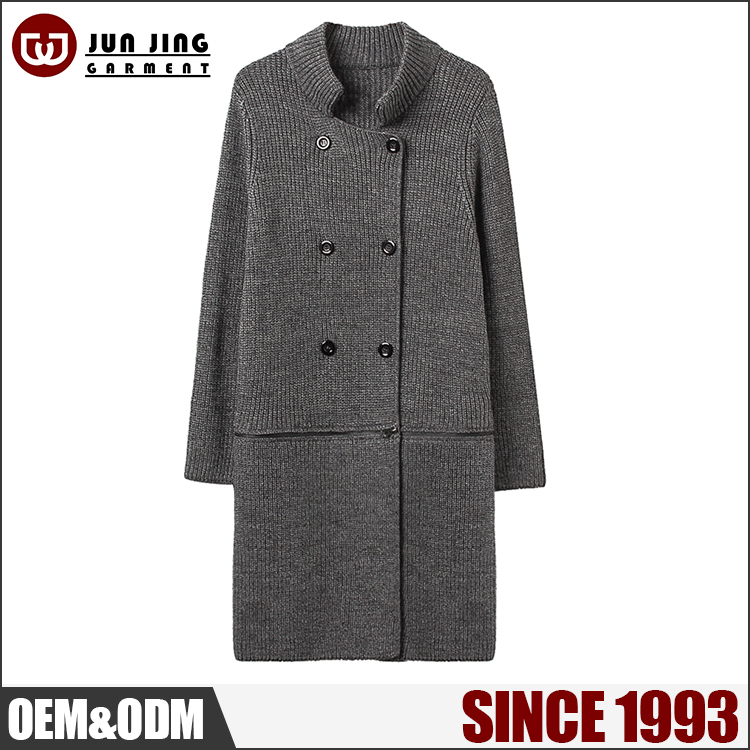 Fashion loose grey color long Windproof korea women winter coat