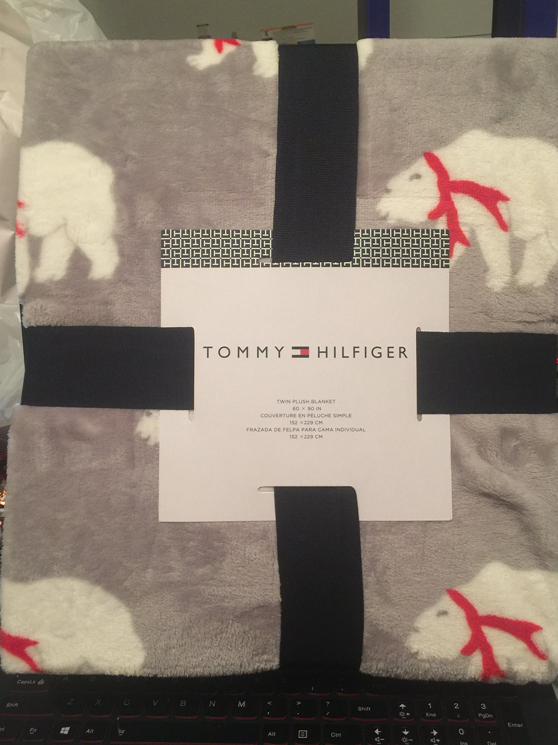 Get Quotations Tommy Hilfiger Twin Plush Blanket Gray With White Polar Bears Red Bows 60 X