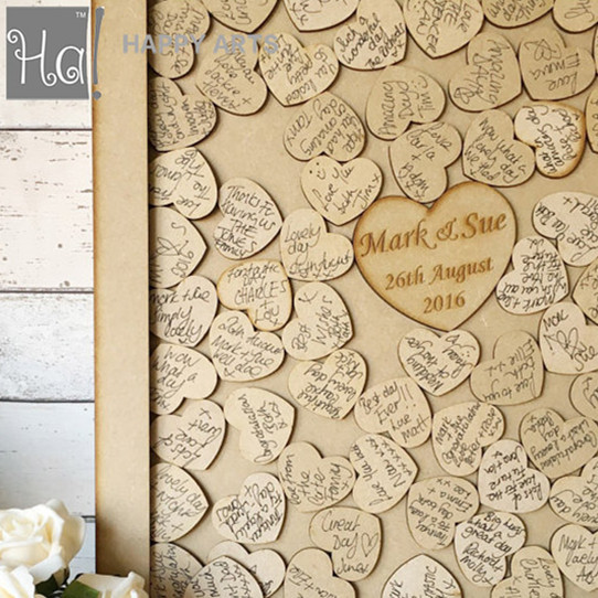 Wood Wedding Gift Guest Book Sign Fashion Heart Customized Guestbook Drop Box