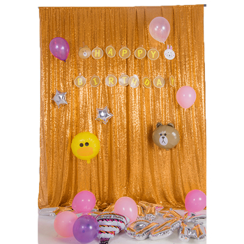 Gold Color Shiny Curtain Fabric Velvet Fabric Curtains Sequin Large Curtain Fabric for Wedding and Party