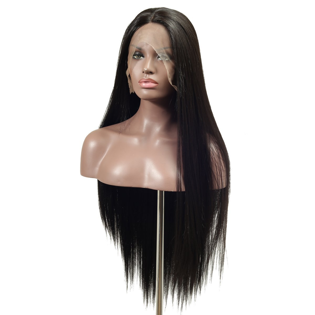 Arimika Natural Black Silk Straight Heat Safe Synthetic Hair Lace Front Wig