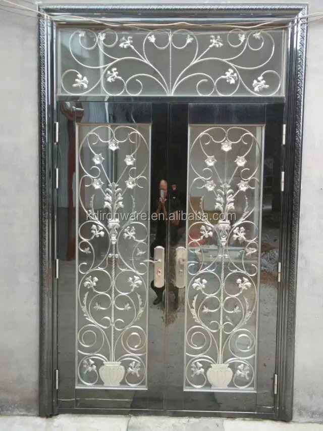 2015 popular simple wrought iron insert or wrought iron for Window design metal