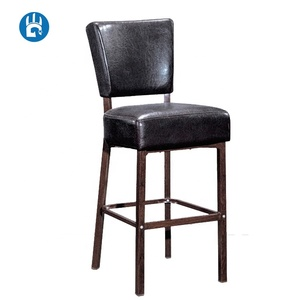 Vintage black pu leather side restaurant dining bar stool chairs for party