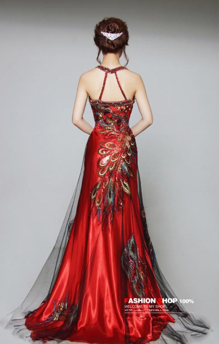 Stock Dress Chinese Phoenix Beaded Embroidery Sleeveless Mermaid ...