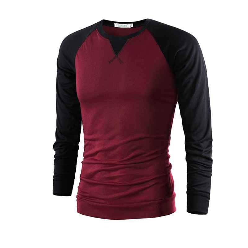 411951f3a0f Buy Stitching Cotton Men T-Shirt Korean Youth Patchwork Men T Shirt Hit  Color Slim Long Sleeve T-Shirts Stitching Cotton Men T-Shirt in Cheap Price  on ...