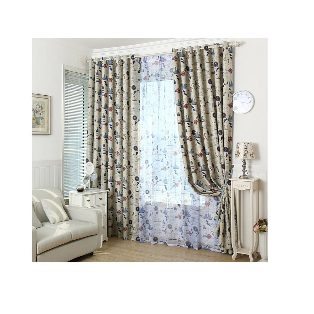 """Papitmg Round Hole Style Living Room Nautical Icon Blackout Window Curtains Kids Bedroom Curtains Window Curtains Blackout Window Panels (Each Panel WH(52""""84"""")1.42.2M, Curtain)"""