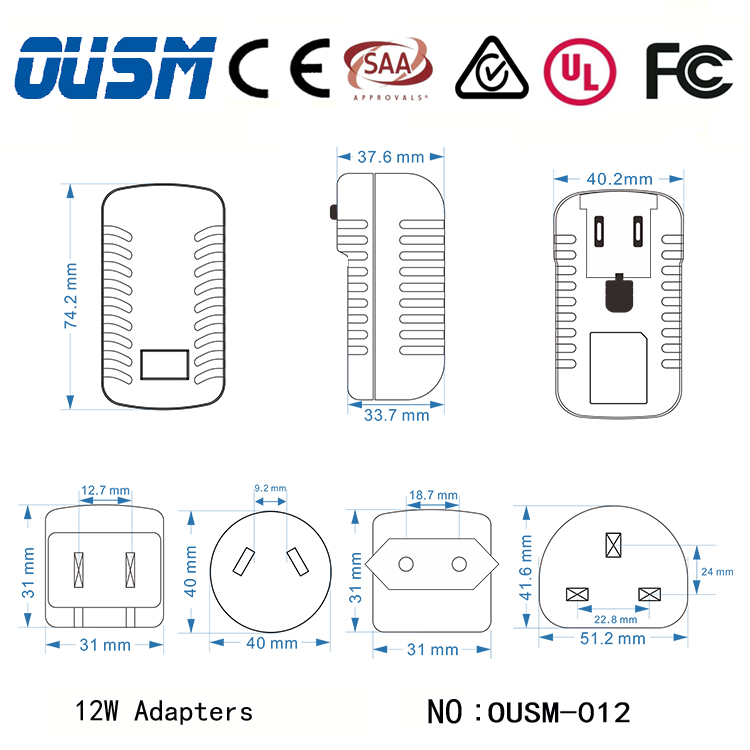 Wholesale price power adapter input 100 240v ac 50/60hz with Detachable plugs