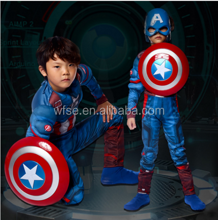3D Muscle High Quality Kids Fancy Dress Superhero Cosplay Kids Captain America Costume
