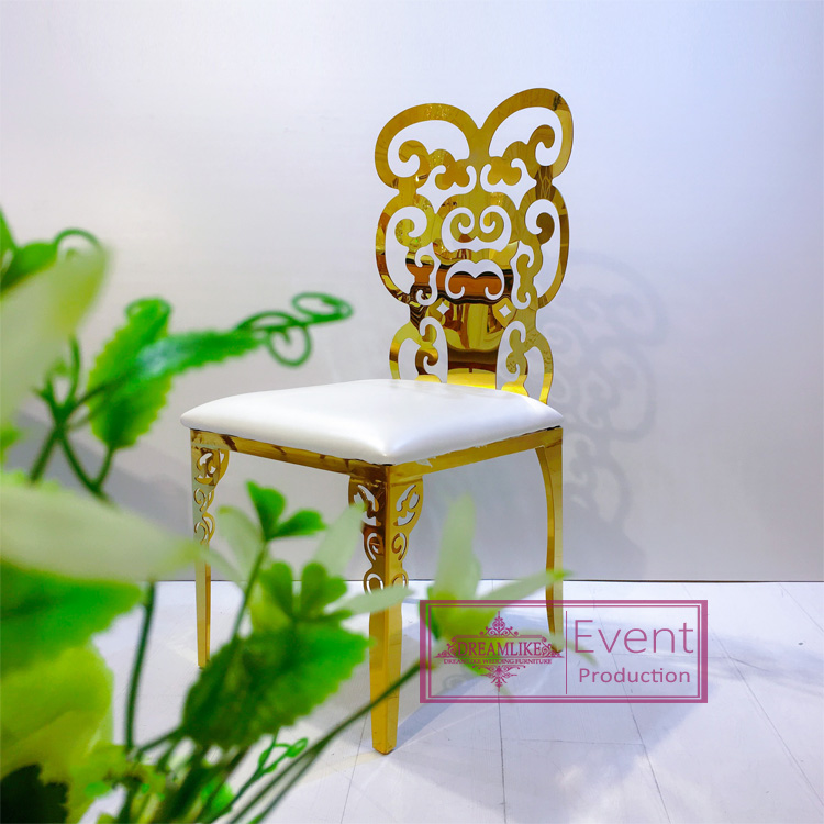 Wedding gold stainless steel wedding hollow out chairs
