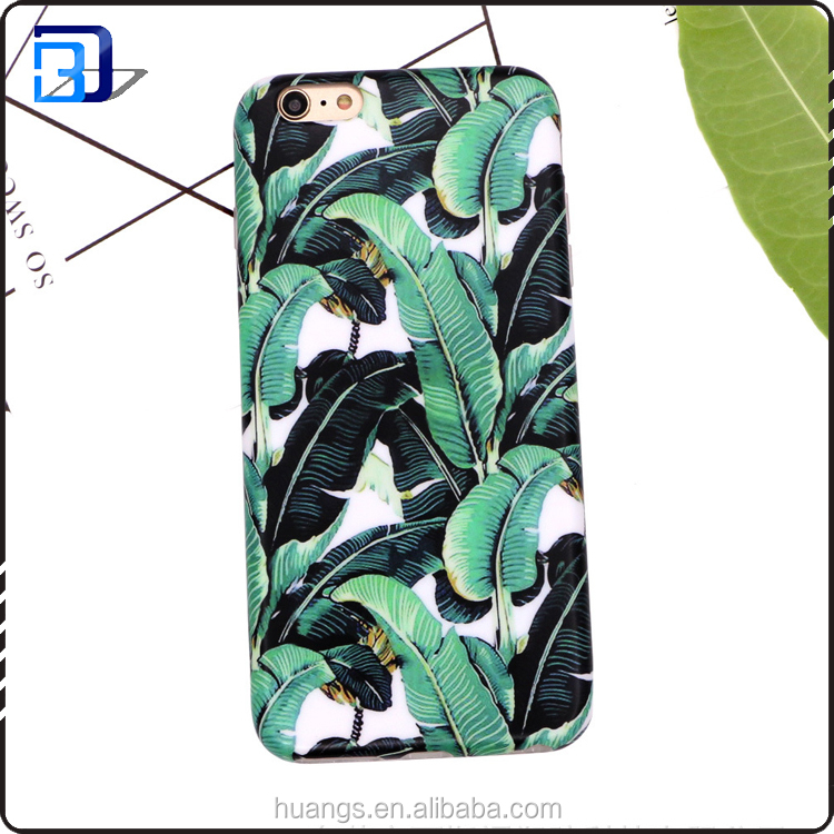 IMD printing Banana leaves Ultra-Slim Anti-Scratch Shockproof tpu phone case for iphone 7