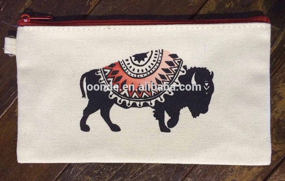 New products canvas medium zipper stash pouch bag with buffalo print