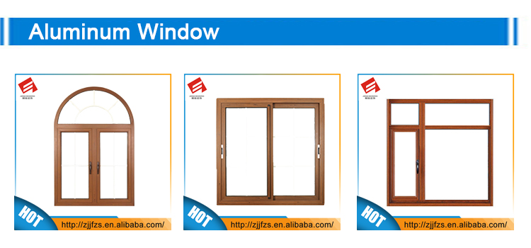 Aluminum wooden vertical opening window with grill design