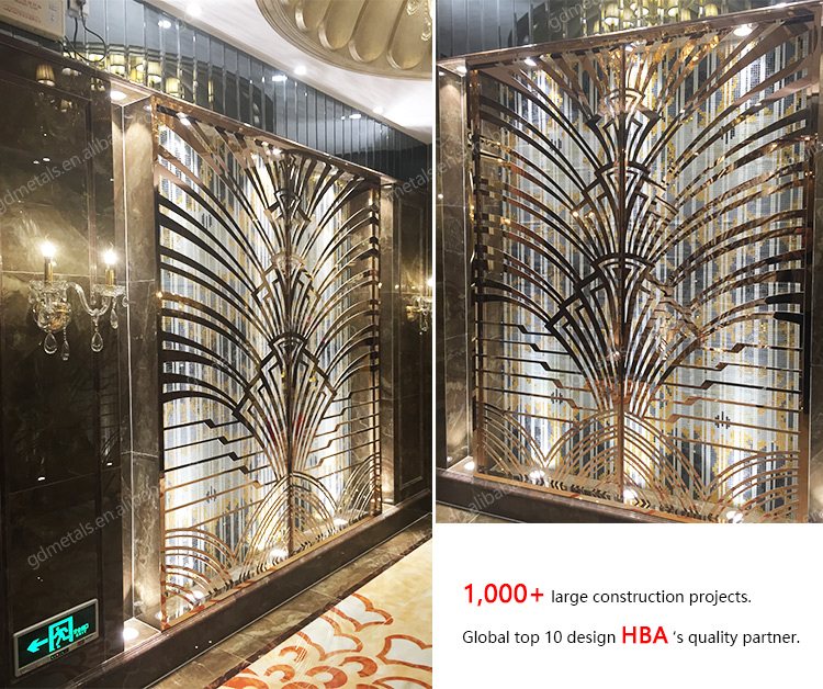Stainless Steel Living Room Partition Screen Laser Cut Cnc Carved Interior Decorative Divider.