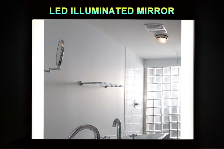 Full length wall mirror with light illuminated illuminated for Full length bathroom mirror
