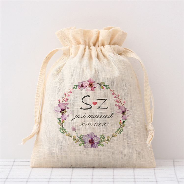 Hot sale new design custom size personalize logo fashionable cotton drawstring bag for wedding gift packaging,bag jewelry