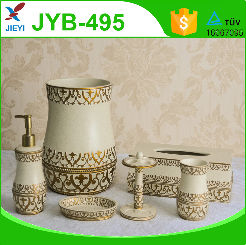 dubai luxury home decorative polyresin bathroom accessories 6pcs gold floral printed bathroom set