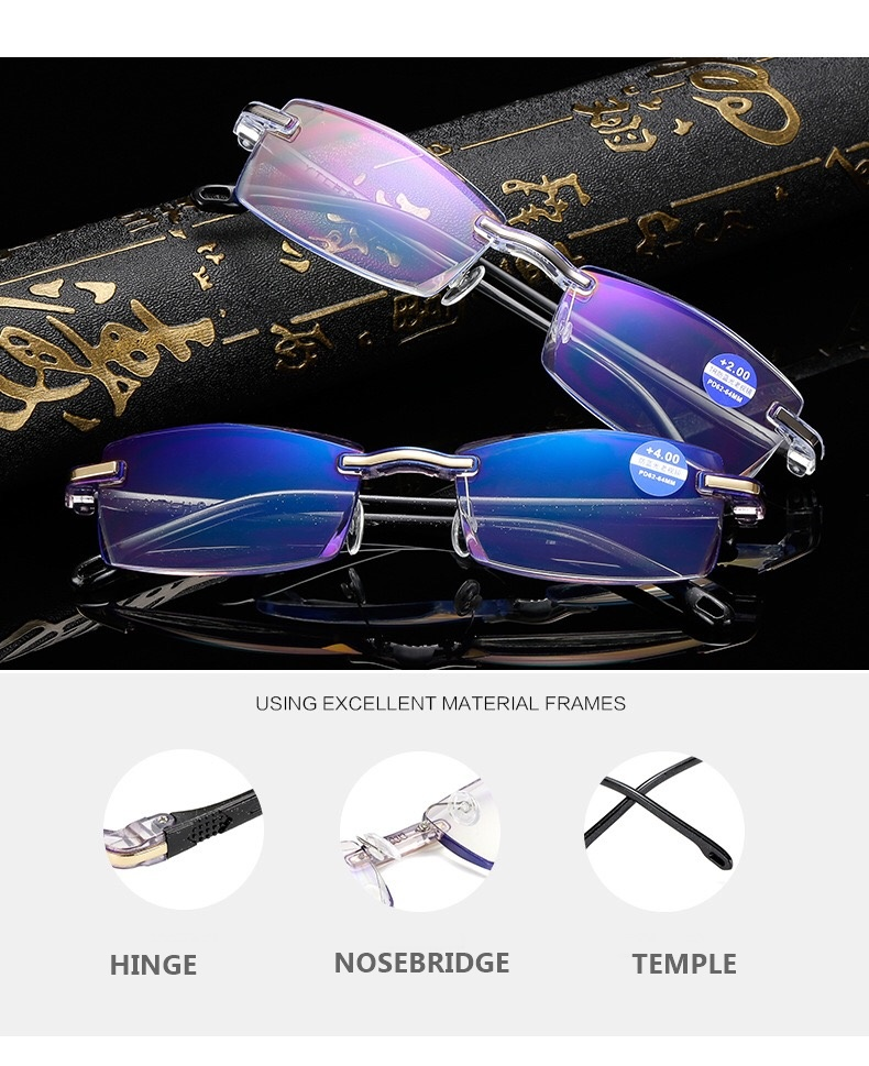 2018 new model one piece anti-blue men reading glasses