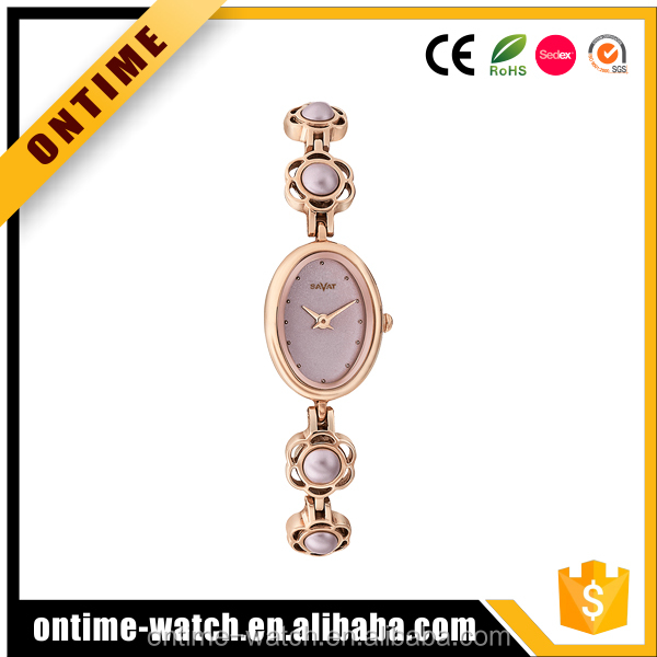Novelty Fancy Brass Strap Water Resistant Lady Jewelry Watches Made in China