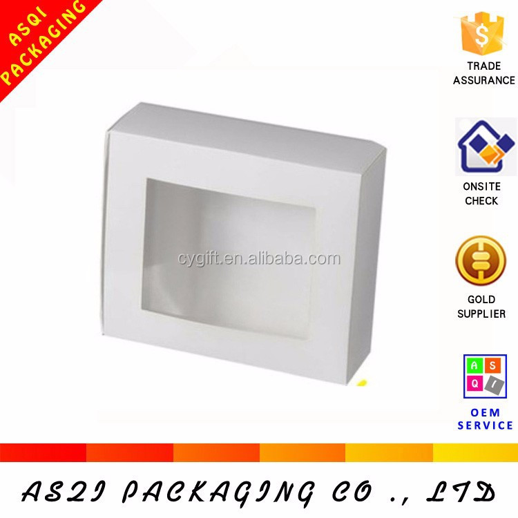 customized logo and dimension white ivory cardboard cake packaging paper gift box with clear pvc window