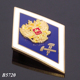 Customized Shape College Uniform Badges Russia Rhombus Diamond Shaped Luxury Golden Emboss Crown Gold Plated High School Badge